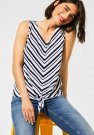 Street One Diagonal Stripes V-Neck Top Deep Blue