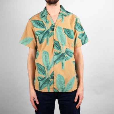Dedicated Shirt Short Sleeve Marstrand Khaki Leaves Green