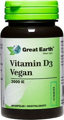 Great Earth D-Vitamin Vegan 75mcg 60k