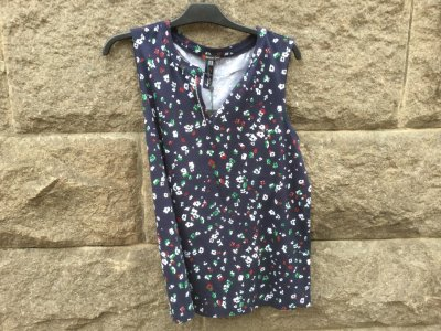 Street One Printed Flower Top w.panel Deep Blue