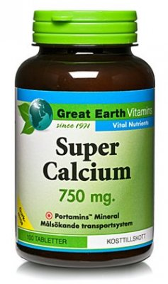 Great Earth Super Calcium 750mg  100 tabletter