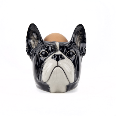 Quail Ceramics FrenchBulldog Face Egg Cup b/w