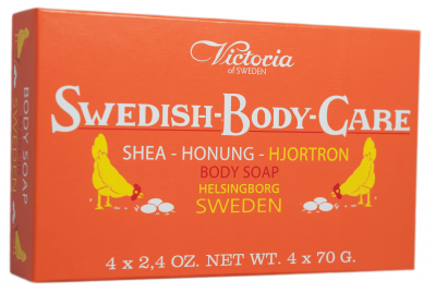 Victoria Soap Honung-Hjortron 4x70g Swedish Body Care Shea