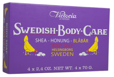 Victoria Soap Honung-Blåbär 4x70g Swedish Body Care Shea